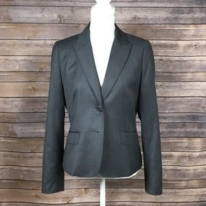 J. Crew Gray Pinstripe Padded Shoulder Suit Jacket